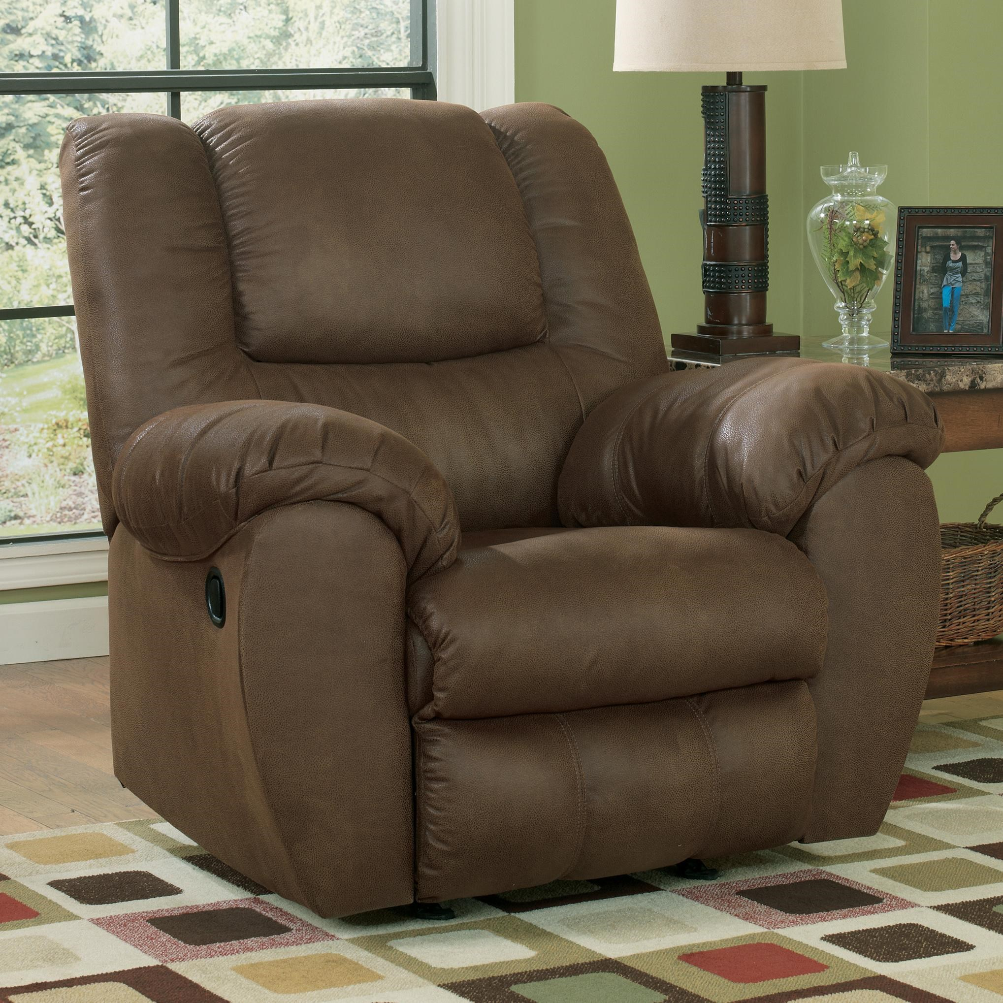 benchcraft quarterback canyon rocker recliner in brown faux leather - Leather Rocker Recliner