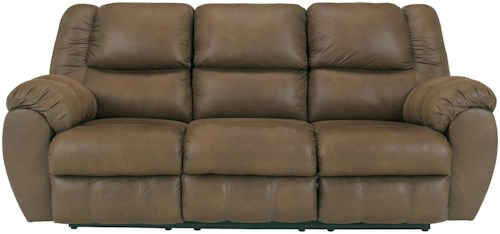 Benchcraft Quarterback - Canyon Reclining Sofa in Faux Brown Leather
