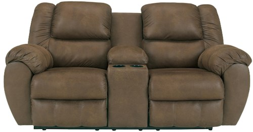 Benchcraft Quarterback - Canyon Reclining Loveseat w/ Console