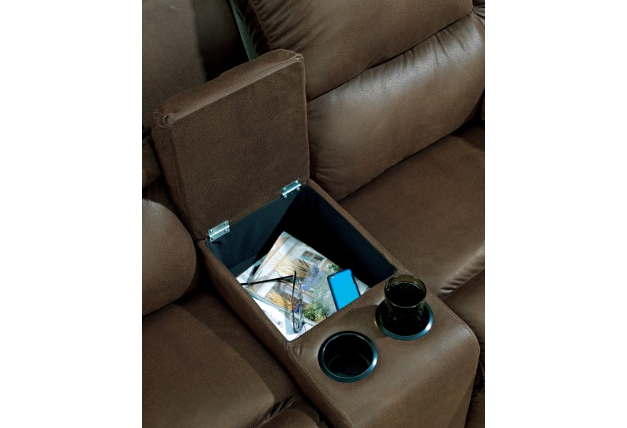 Enjoyable Quarterback Canyon Reclining Loveseat W Console By Benchcraft At Fisher Home Furnishings Theyellowbook Wood Chair Design Ideas Theyellowbookinfo
