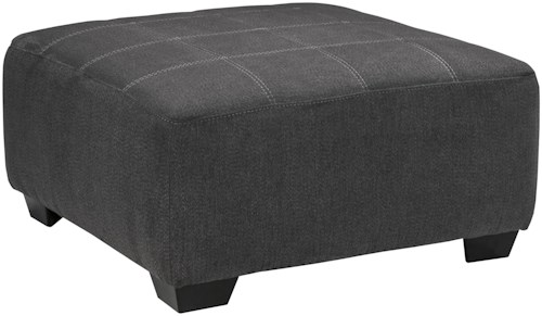Benchcraft Sorenton Contemporary Square Oversized Accent Ottoman with Jumbo Stitching