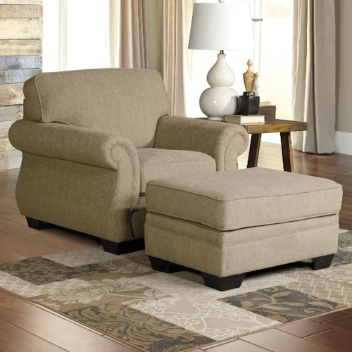 Benchcraft Tailya Transitional Chair & Ottoman