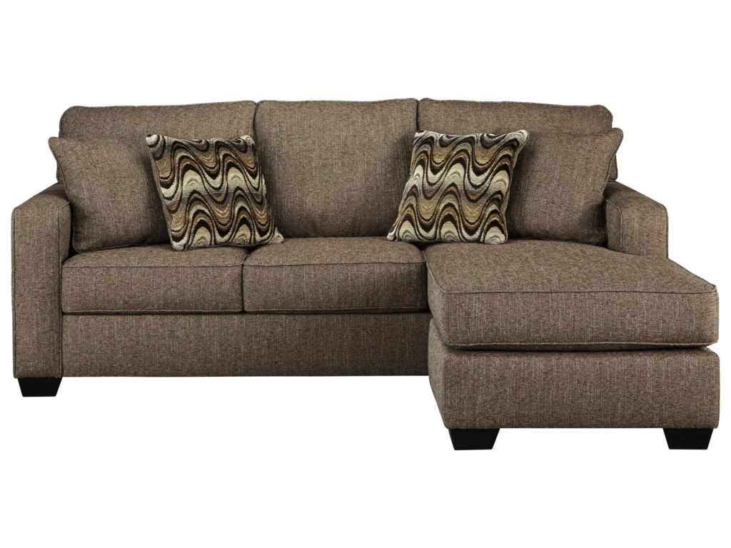 Tanacra Contemporary Sofa Chaise in Brown Tweed Fabric by Benchcraft at  Wayside Furniture