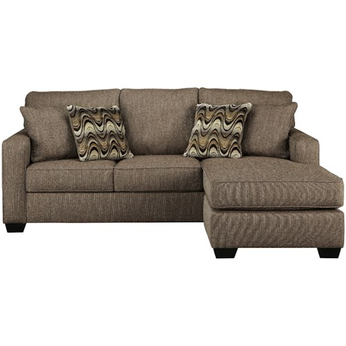 Benchcraft Tanacra Contemporary Sofa Chaise in Brown Tweed Fabric