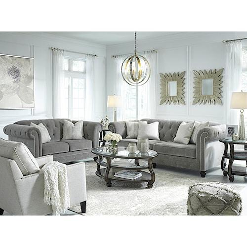 benchcraft tiarella stationary living room group standard