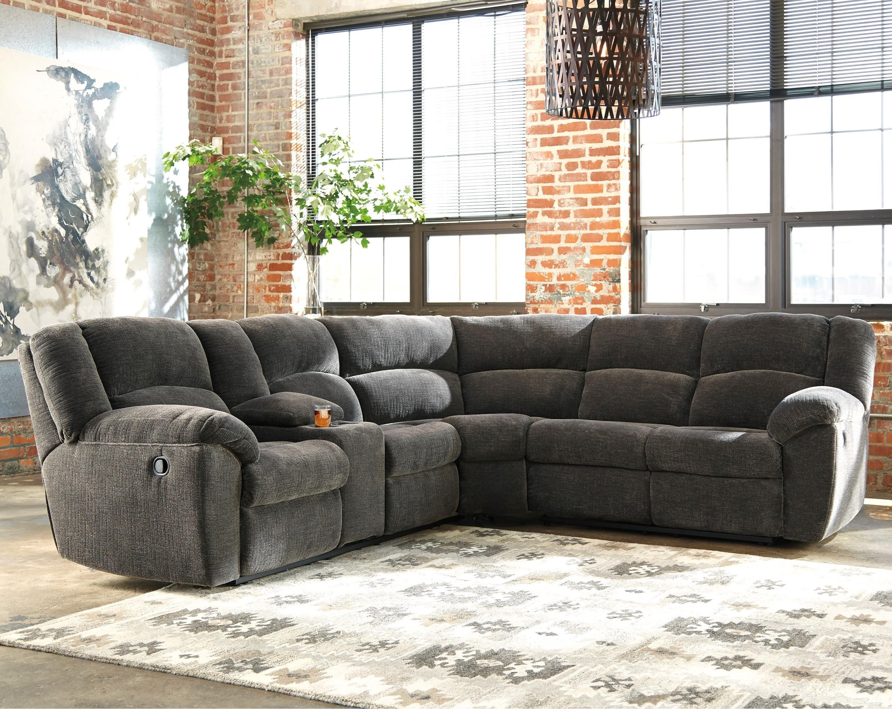 benchcraft timpson reclining sectional with storage console