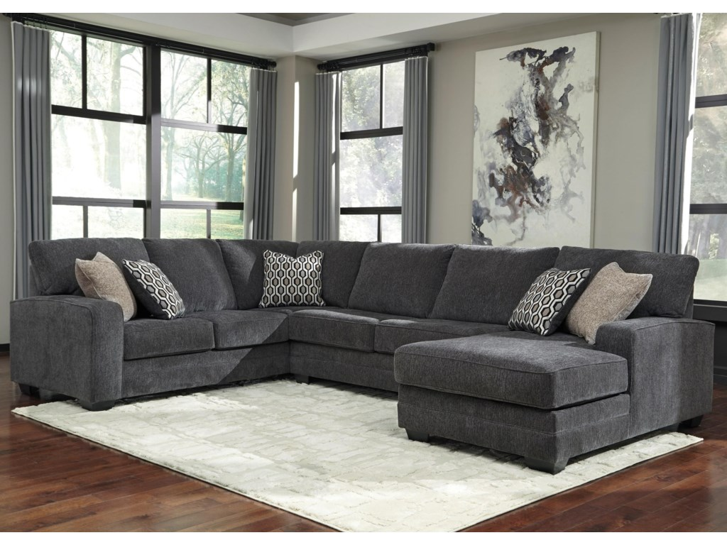 Tracling Contemporary Sectional with Right Chaise by Benchcraft by Ashley  at Royal Furniture