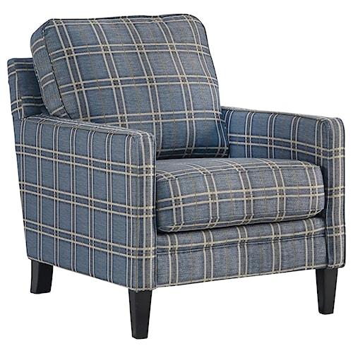 Benchcraft Traemore Checker Print Blue Accent Chair