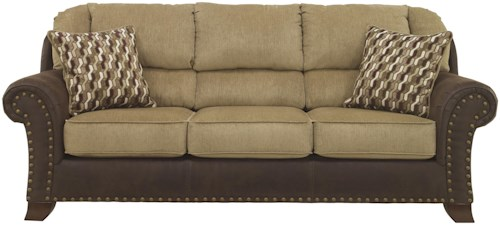 Benchcraft Vandive Two Tone Sofa With Chenille Fabric Faux Leather Upholstery
