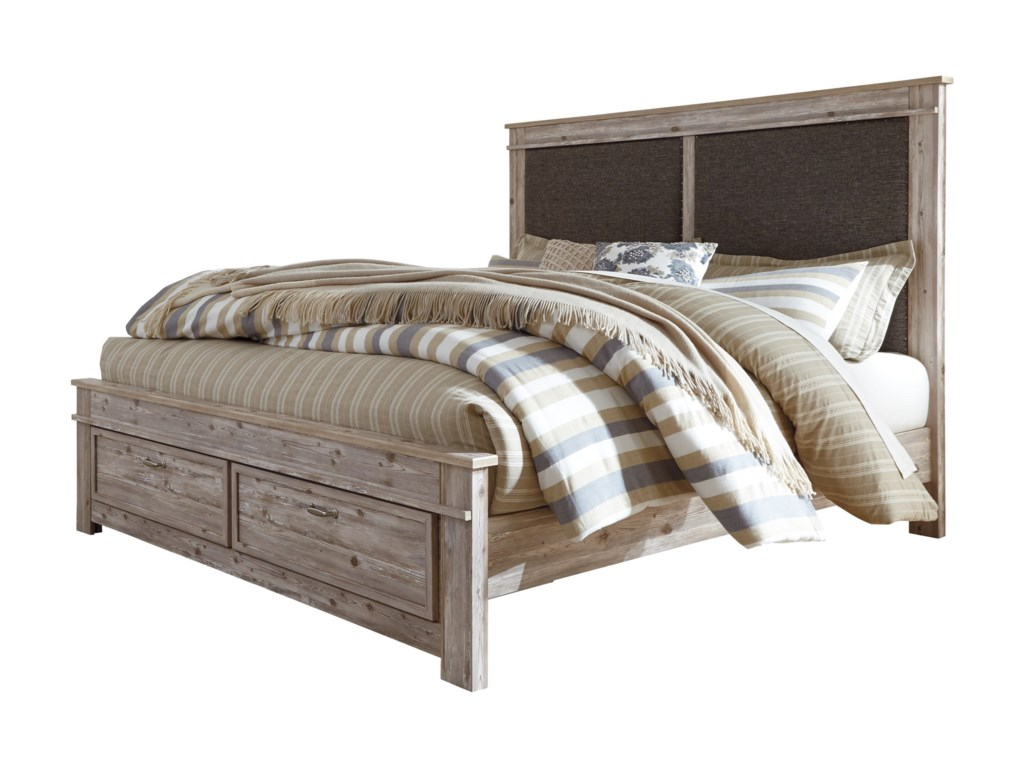 Benchcraft WillabryKing Upholstered Panel Storage Bed