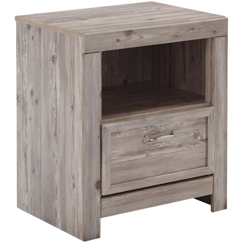 Benchcraft Willabry Weathered Beige One Drawer Night Stand with USB Chargers