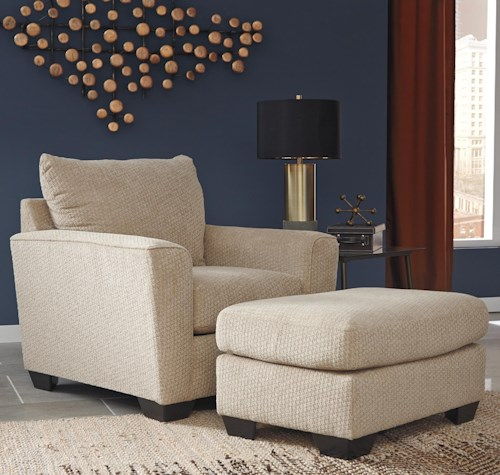 Benchcraft Wixon Chair with Rounded Track Arms & Ottoman