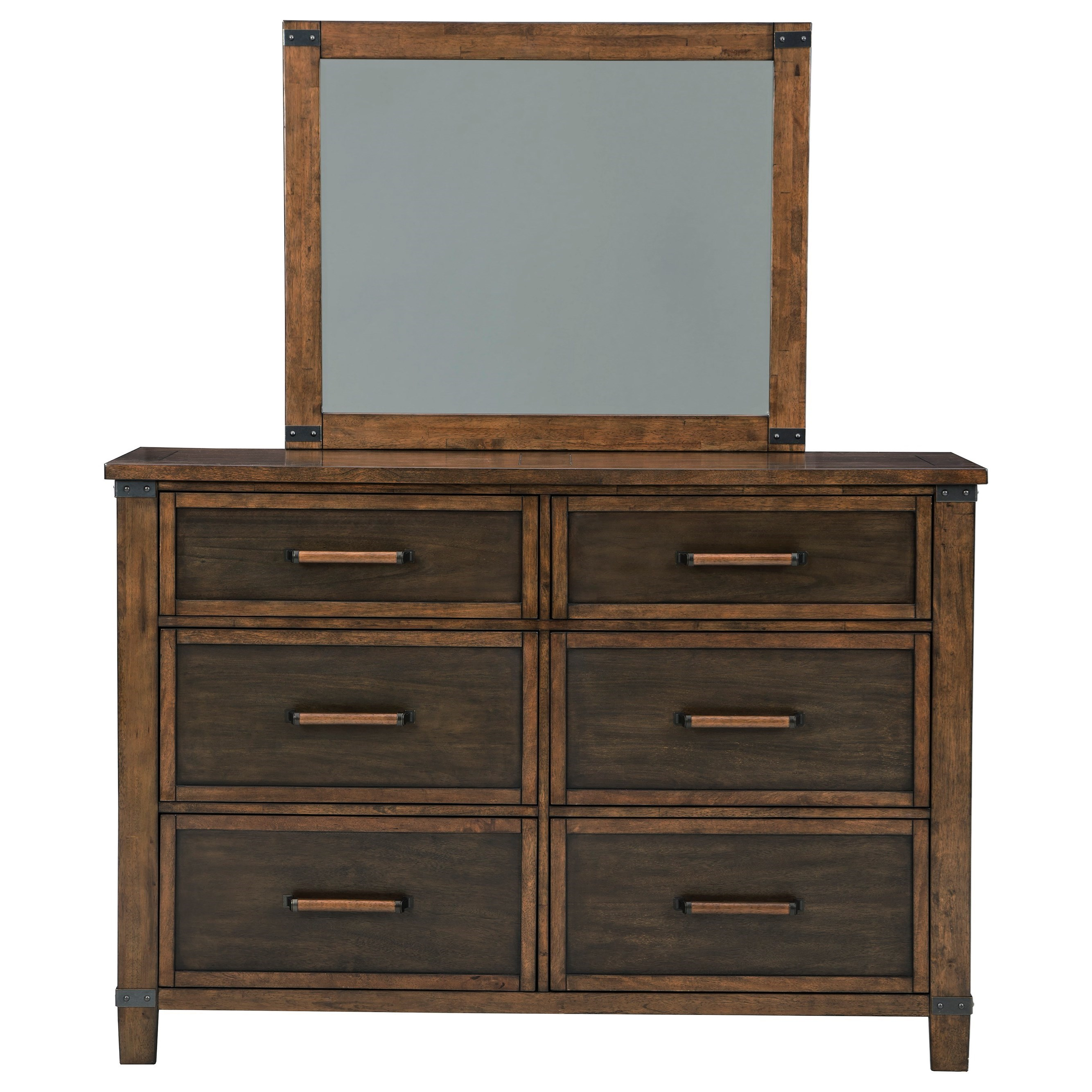 Two-Tone Mango Veneer Dresser & Bedroom Mirror