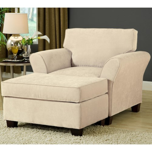 Belfort Essentials Addison Chair and Ottoman with Welt Cords and Espresso Tapered Wood Block Legs