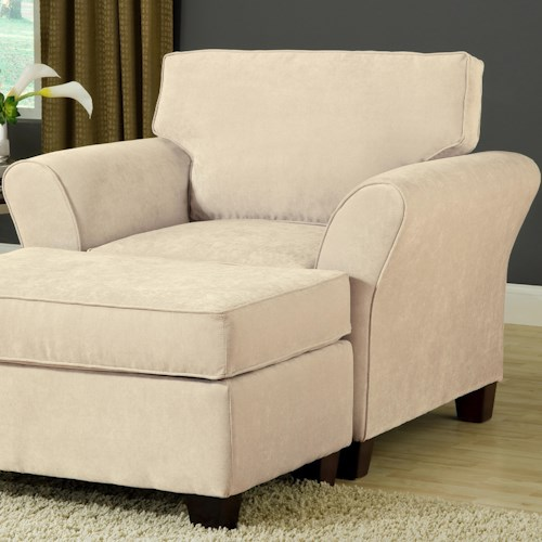 Belfort Essentials Addison Upholstered Chair with Flared Arms and Espresso Tapered Wood Block Legs