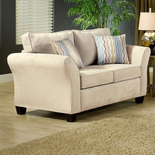 Belfort Essentials Addison Stationary Love Seat with Flared Arms and Espresso Tapered Wood Block Legs