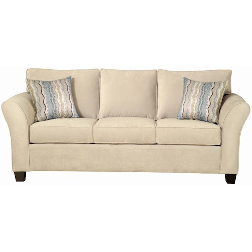 Belfort Essentials Addison Stationary Sofa with Flared Arm and Espresso Tapered Wood Block Feet