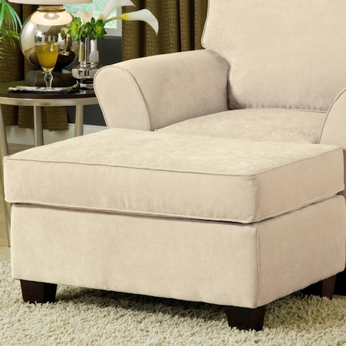 Belfort Essentials Addison Upholstered Ottoman with Welt Cords and Espresso Wood Tapered Block Legs