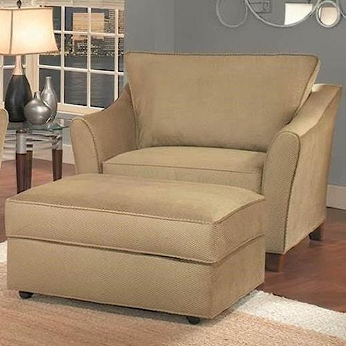 Belfort Essentials Fleetwood Chair and Ottoman with Block Feet