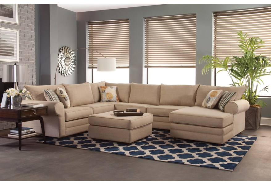 Benchmark Upholstery Monticello Casual Sectional Sofa with ...