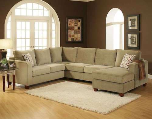Benchmark Upholstery Tenley U-Shaped Contemporary Sectional with Right Chaise