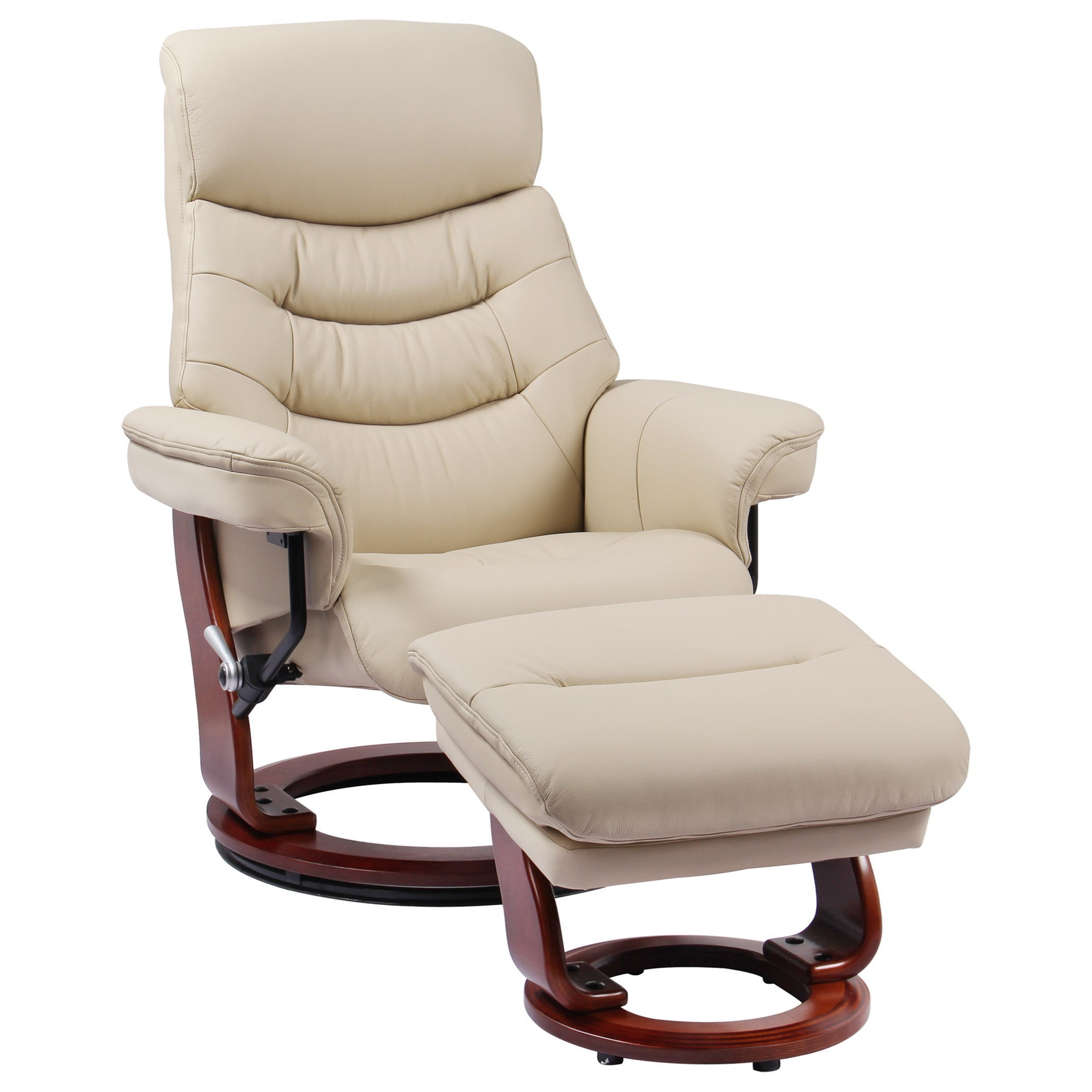 Benchmaster Happy Reclining Chair And Ottoman And Adjustable Hidden Headrest