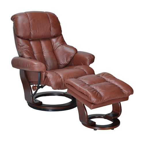 Benchmaster Verona  Upholstered Gliding Recliner and Storage Ottoman