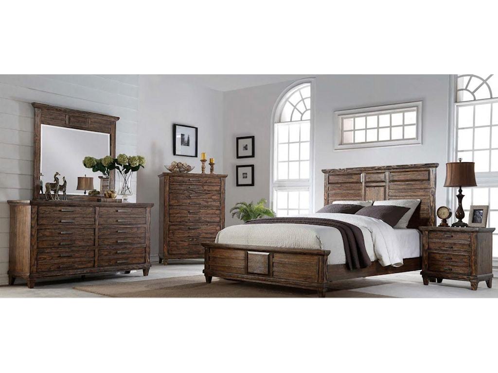 Bernards CortezKing Bed, Dresser, Mirror & Nightstand