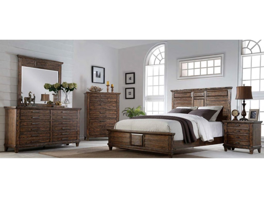 Bernards CortezKing Bed, Dresser, Mirror & Nightstand
