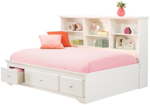 Bernards Brooke Twin Lounge Bed with Bookcase Headboard & Footboard Drawers
