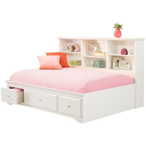 Bernards Brooke Full Lounge Bed with Bookcase Headboard & Footboard Drawers