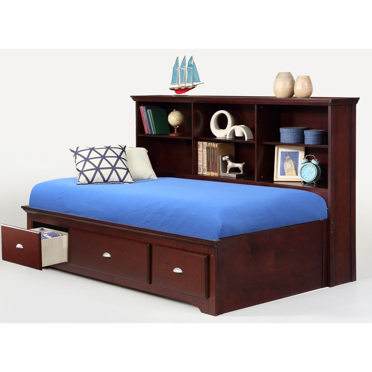 Bernards Ethan Twin Lounge Bed With Bookcase Headboard