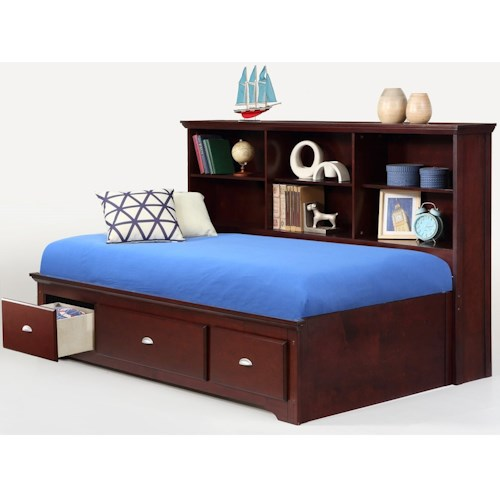 Bernards Ethan Twin Lounge Bed with Bookcase Headboard & Footboard Drawers