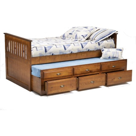 Twin Captain's Bed with Trundle & Drawers