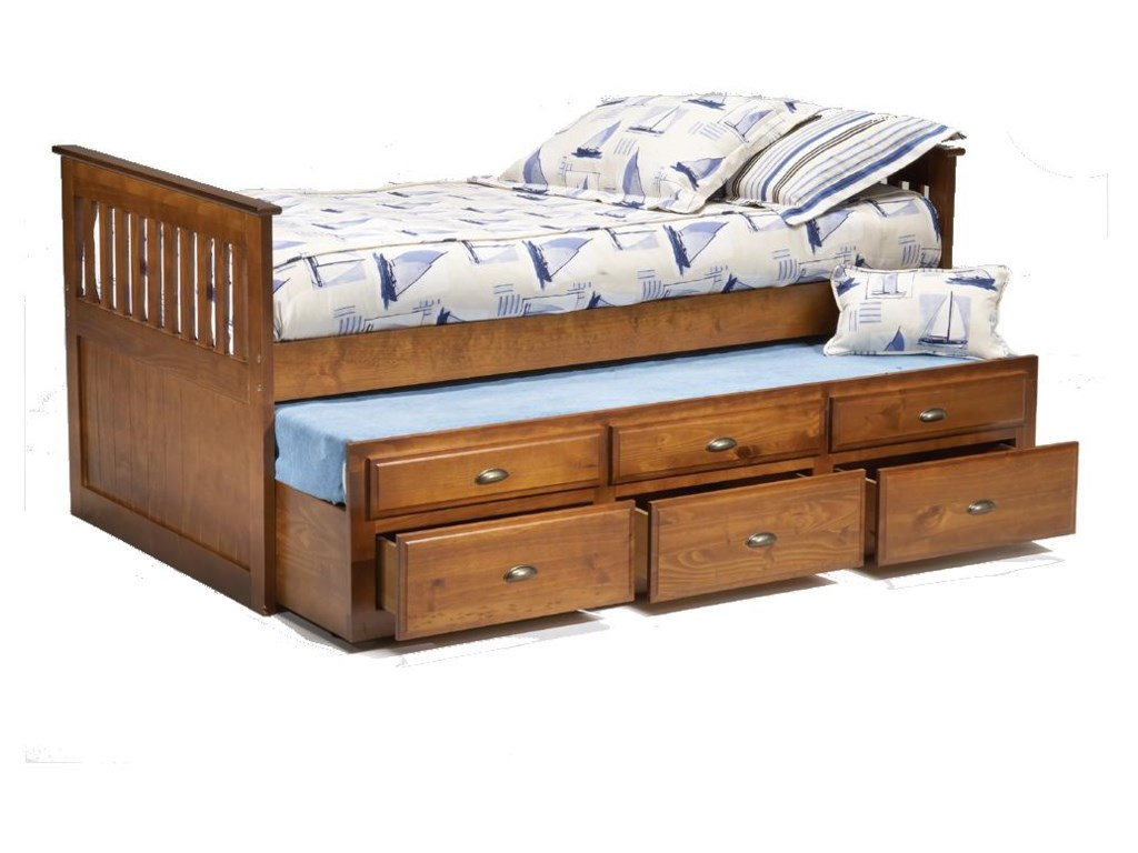 Bernards LoganTwin Captain's Bed with Trundle & Drawers
