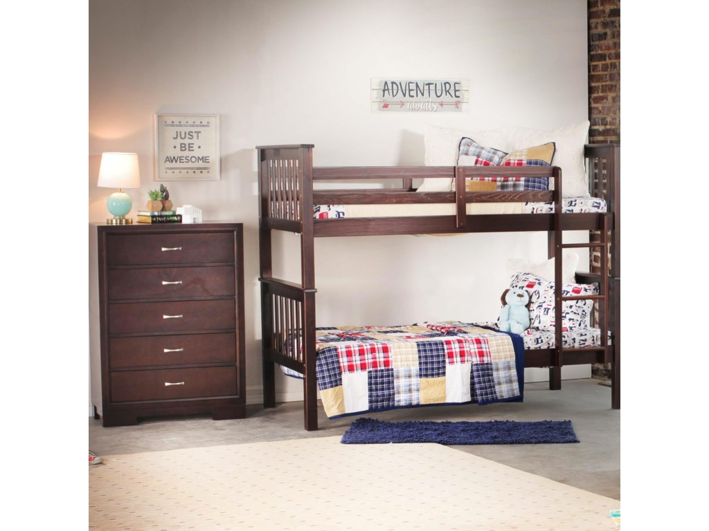 Bernards SadlerMerlot Bunk Bed with Chest