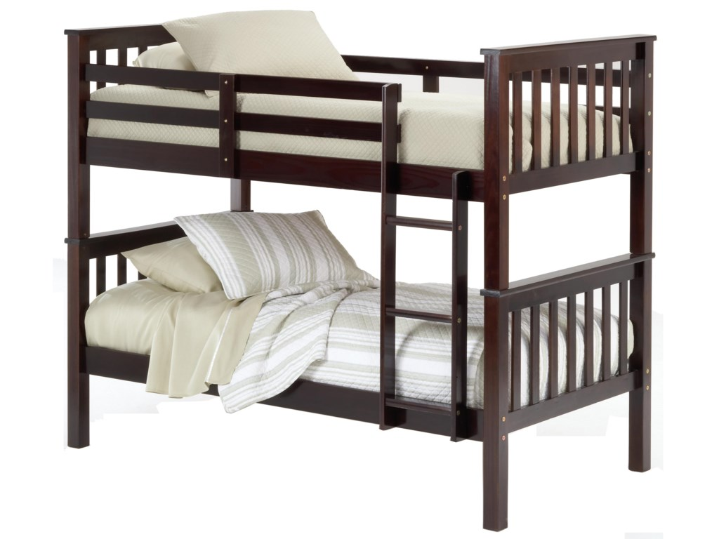 Bernards Sadler Merlot Finish Twin Bunk Bed
