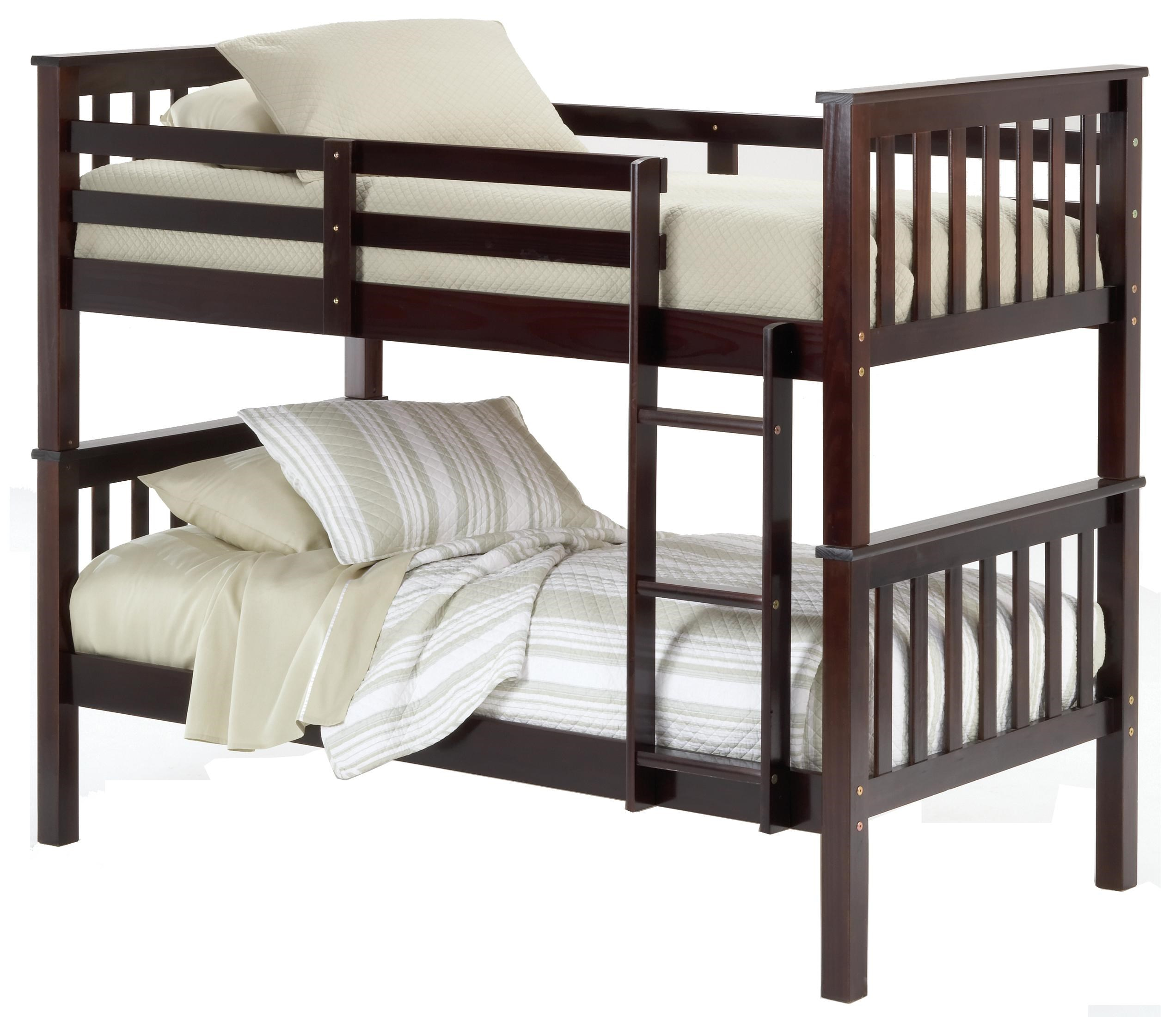 Merveilleux Bernards Sadler Merlot Finish Twin Bunk Bed