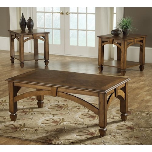 Bernards Arch 3 Pack Transitional Wood Occasional Tables