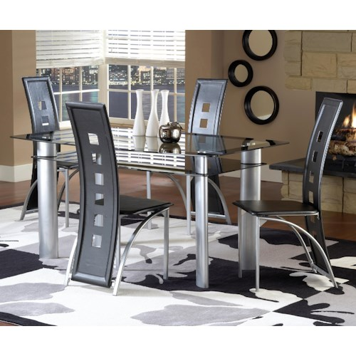 Bernards Astro Contemporary 5-Piece Smoked Glass Top Dinette Set with Black Vinyl Chairs