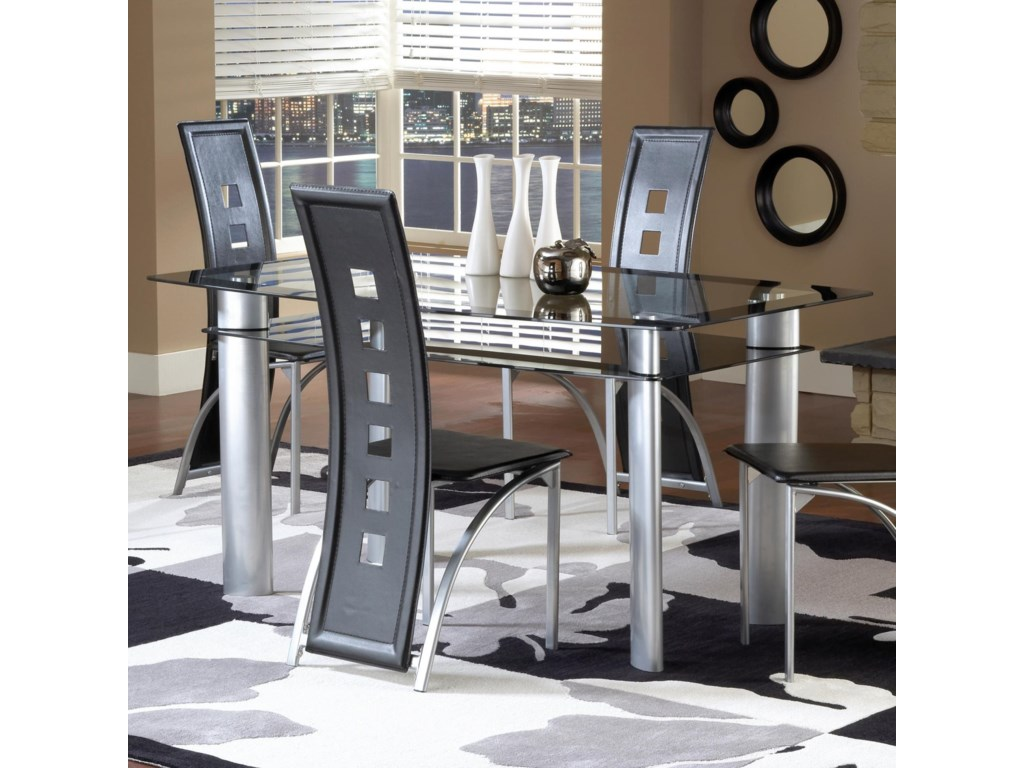 Bernards AstroDinette Table with Black/Satin Silver Finish
