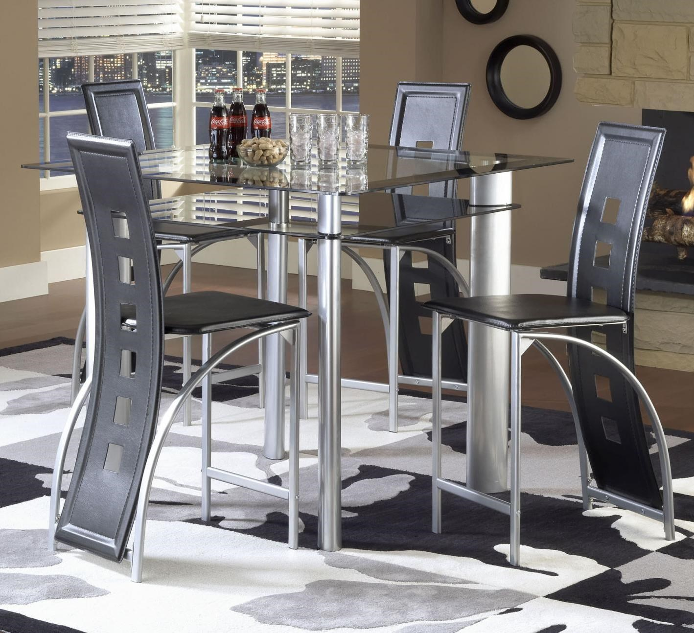 Bernards Astro Contemporary 5 Piece Smoked Glass Top Counter Height Dinette  Set With Black Vinyl