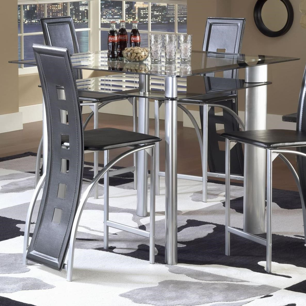 Bernards Astro Smoked Glass Counter Height Pub Table   Black / Satin Silver