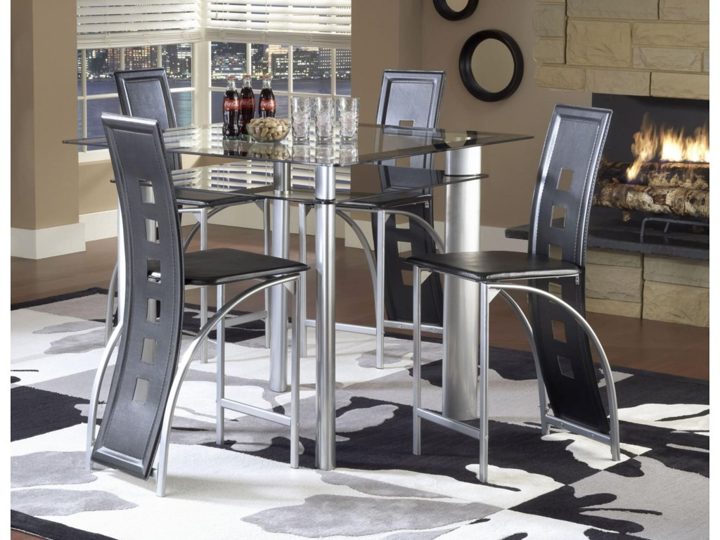 Bernards AstroPub Table - Black / Satin Silver