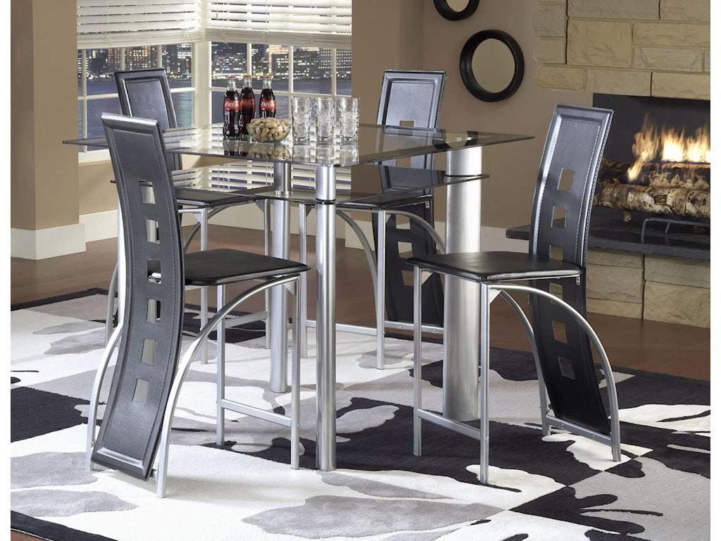 Bernards AstroCounter Table - Black / Satin Silver