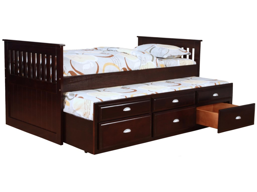 Logan Captain S Bed With Trundle And Storage By Bernards At Wayside Furniture