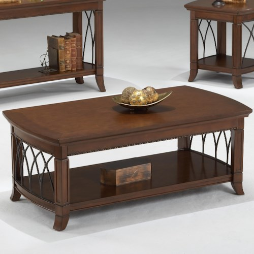 Bernards Cathedral Cherry Coffee Table w/ Lower Shelf