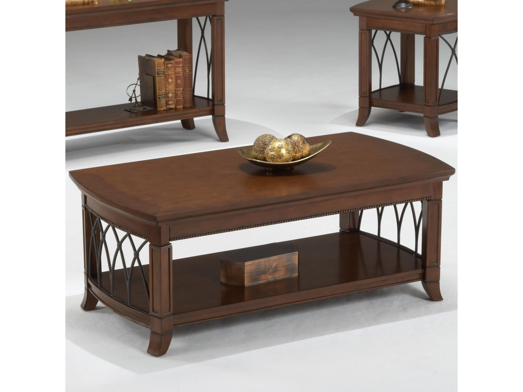 Bernards Cathedral Cherry Coffee Table W Lower Shelf
