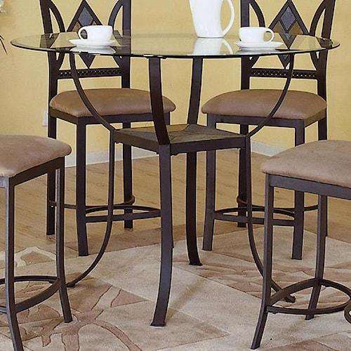 Bernards Diamond Tile Pub Table with Glass Top and Shelf