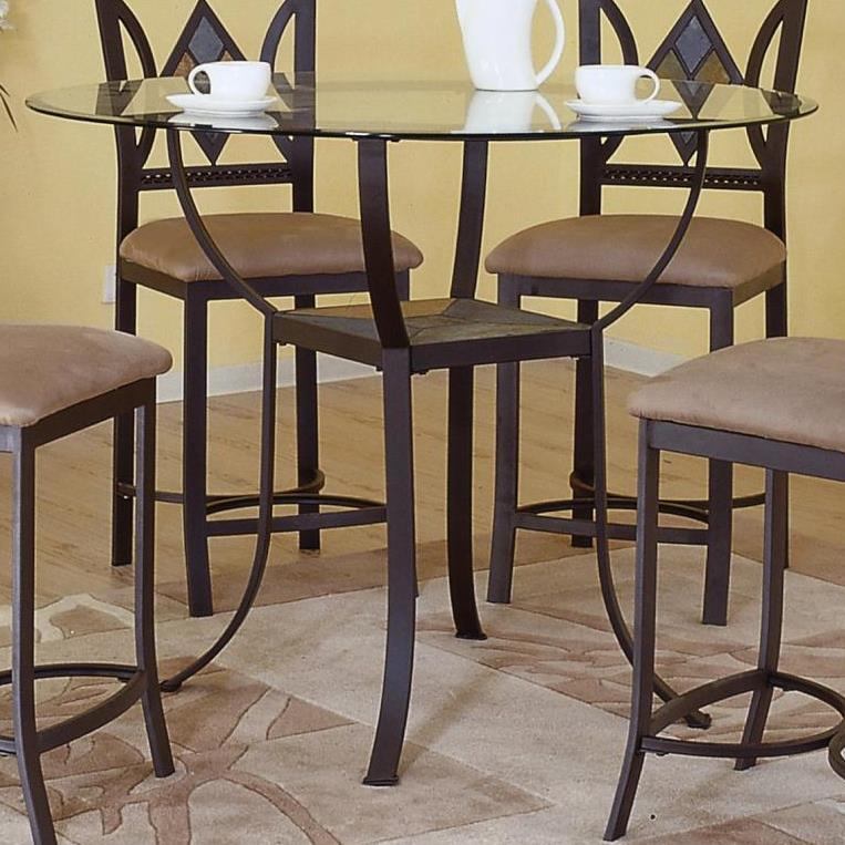 Bon Bernards Diamond Tile Pub Table With Glass Top And Shelf